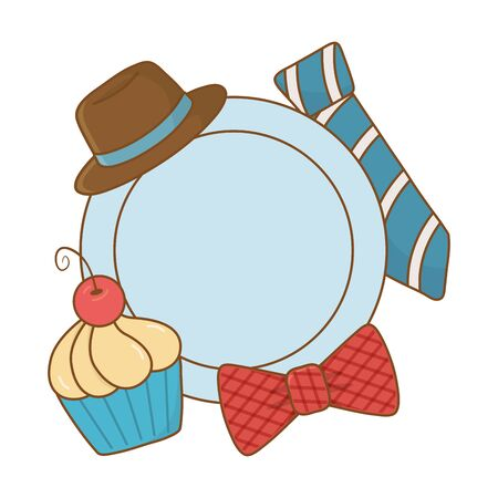 plate with hat bow tie and muffin