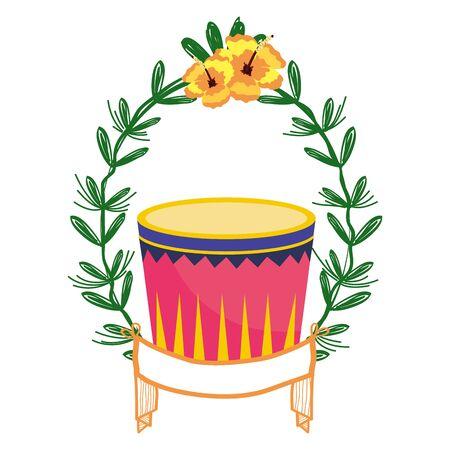 drum on laurel wreath Ilustracja