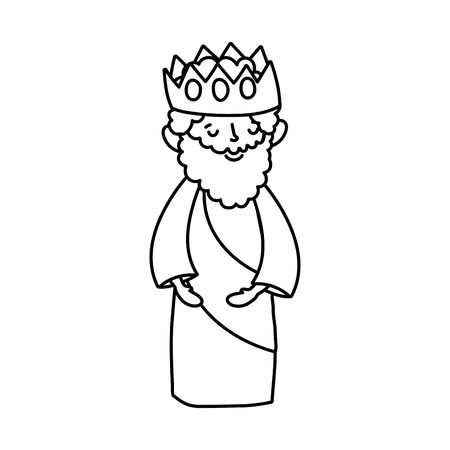 wise king with crown manger nativity, merry christmas thick line Illusztráció