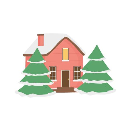 cute house and trees with snow decoration christmas