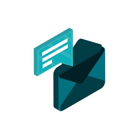 email message social media isometric icon Ilustracja