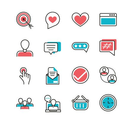 social media icons set line and fill