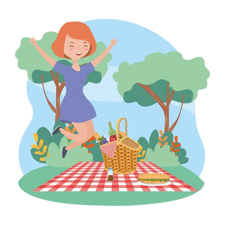 happy woman with basket food picnic nature cityscape