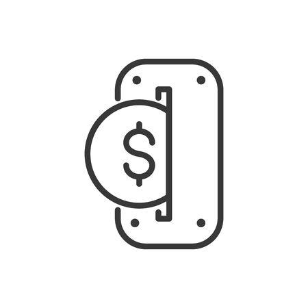 insérer la ligne épaisse de l'icône de l'argent de la banque de financement des pièces de monnaie