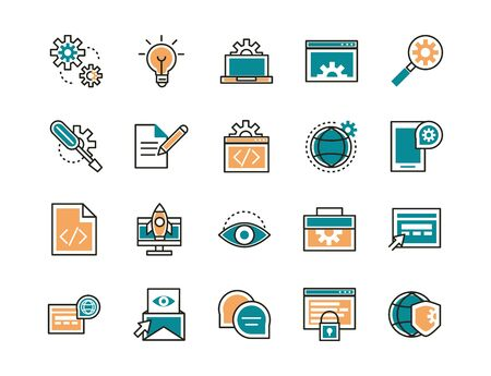 web development icons collection line and fill