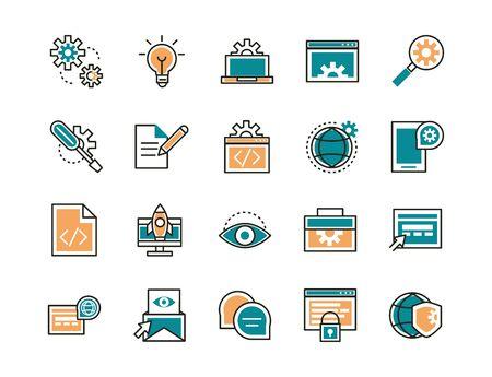 web development icons collection line and fill Vektorové ilustrace