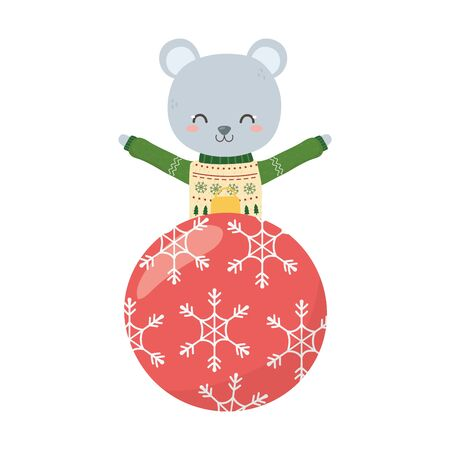 merry christmas celebration cute bear with sweater and ball decoration Stock Illustratie