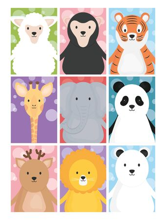 cute animals sheep giraffe tiger lion deer bear elephant and panda
