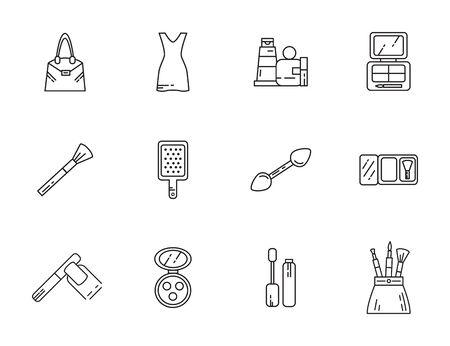 makeup cosmetics jewelry feminine things icons set line style vector illustration