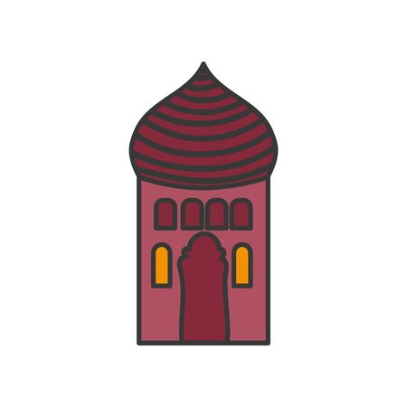 arabic castle tower classic antique icon vector illustration