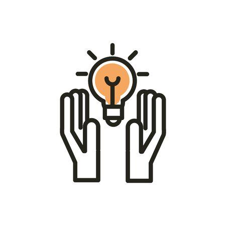 hands idea solution web development icon line and fill Illustration