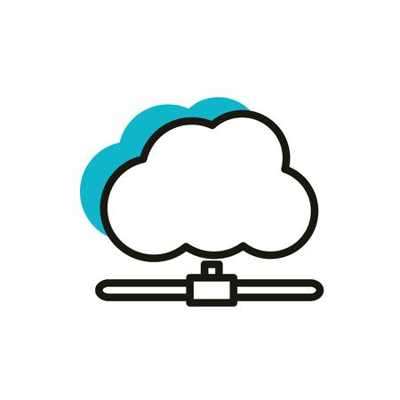 cloud computing data social media icon line and fill