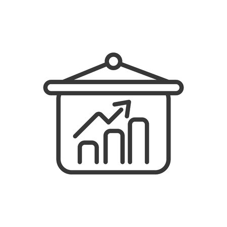 chart board finance bank money icon thick line vector illustration