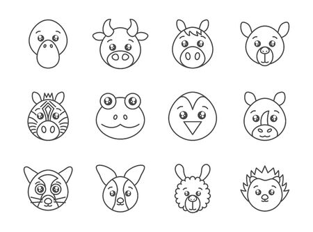 cute animals head cartoon icons set line style