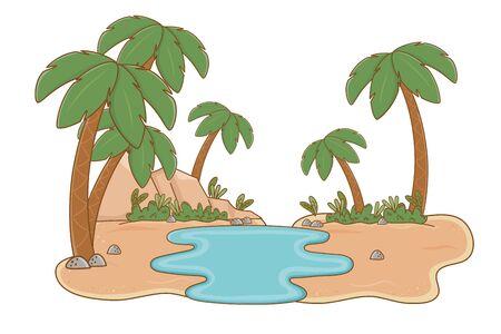 Oasis with palms and lake scenery cartoon Illusztráció