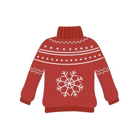 christmas red ugly sweater party decorative snowflake Illusztráció
