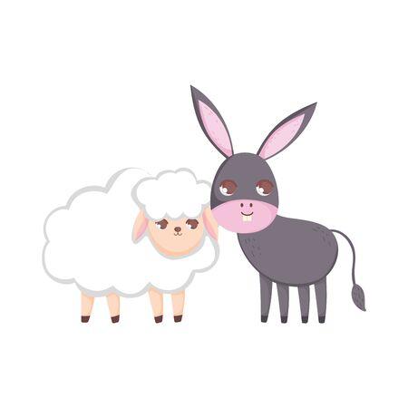 sheep and donkey animals cartoon