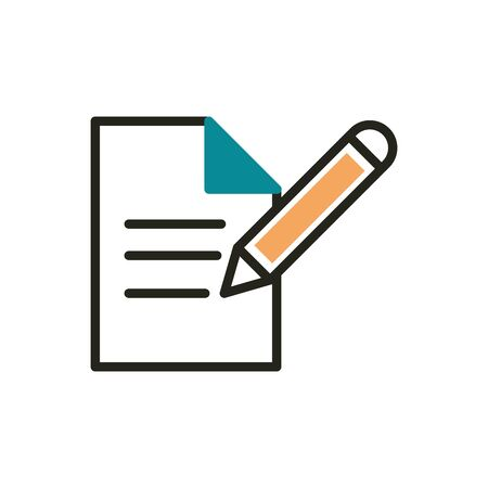 document writing pen web development icon line and fill