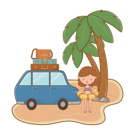 happy girl child with swimsuit and float between car and palms at beach cartoon summer and travel vector illustration editable design
