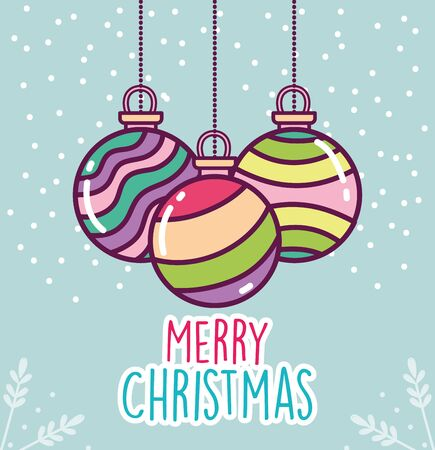 merry christmas celebration colorful striped balls snow Stock Illustratie