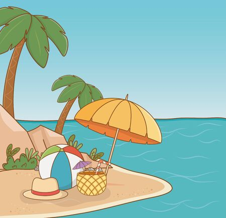 umbrella in the beach scene vector illustration design Illusztráció