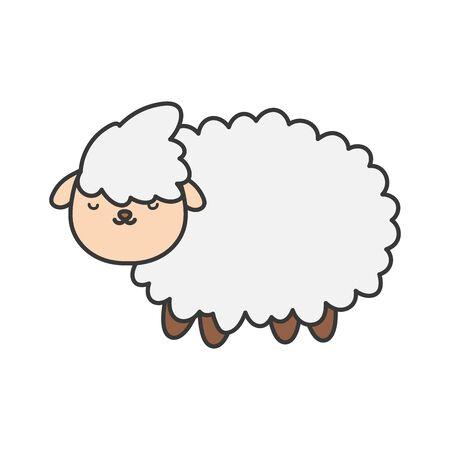 sheep farm animal cartoon icon vector illustration