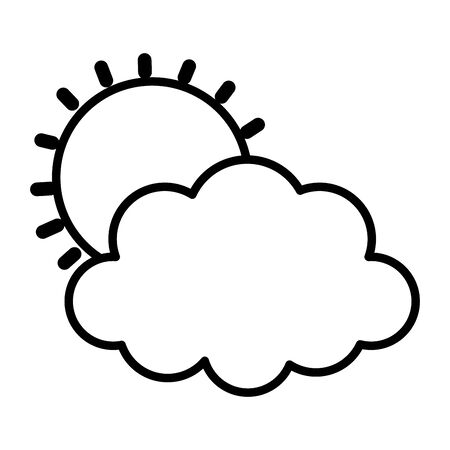 weather summer sun cloud icon thick line Stock Illustratie