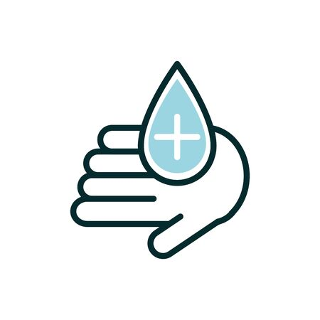 hand with drop blood donation medical icon line fill vector illustration