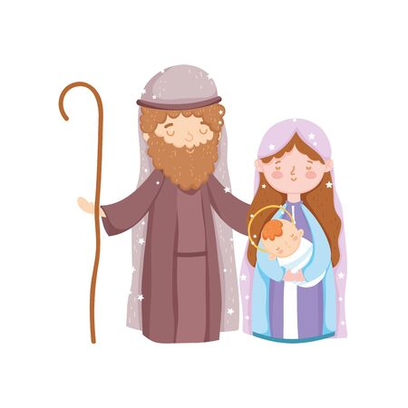 mary joseph and baby jesus manger nativity, merry christmas vector illustration