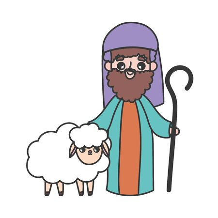 joseph and sheep manger nativity, merry christmas