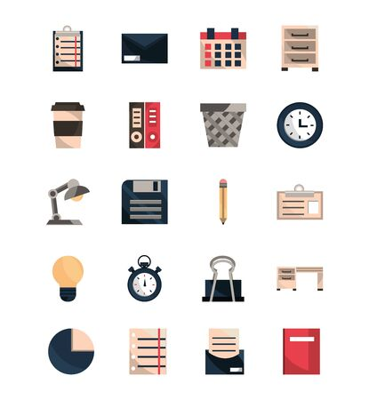office work business equipment icons set vector illustration