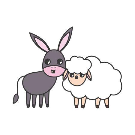 sheep and donkey animals cartoon vector illustration Ilustrace