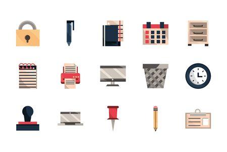 office work business equipment icons set vector illustration Reklamní fotografie - 133900086