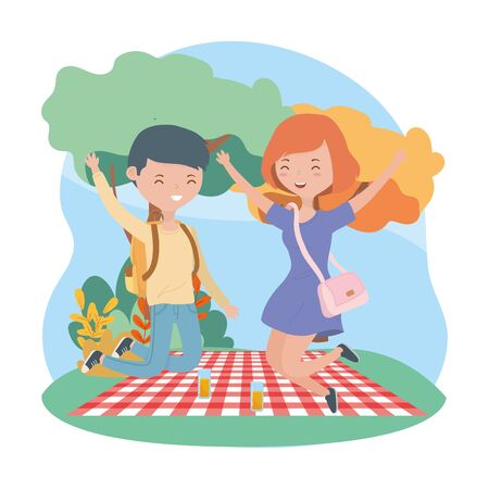 jumping couple blanket food picnic nature outdoors Ilustrace