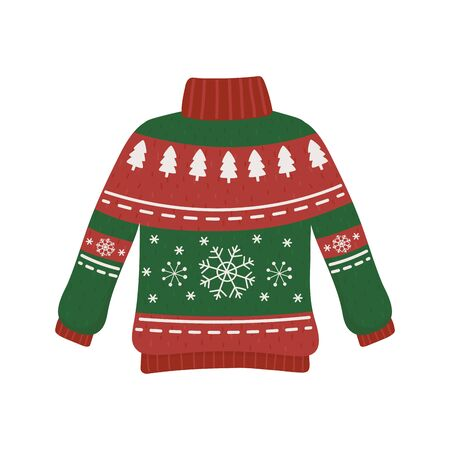 christmas red and green ugly sweater party decorative vector illustration Stock Illustratie