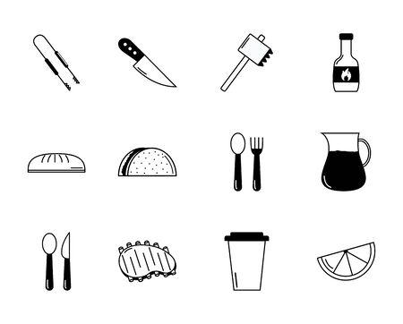 bbq food equipment utensils icons set vector illustration