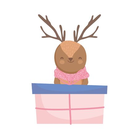 reindeer with gift boxes celebration merry christmas vector illustration