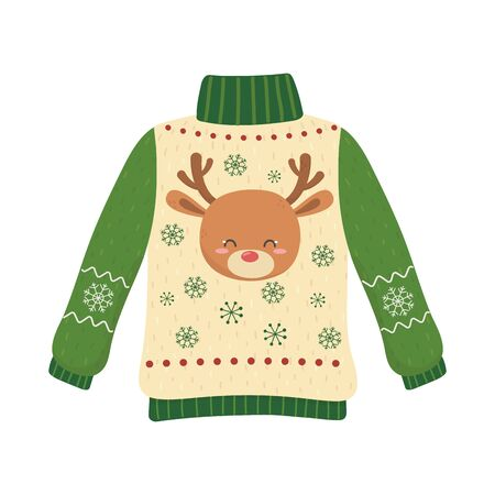 christmas ugly sweater party decorative deer head snowflakes Stock Illustratie