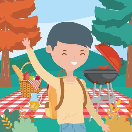 happy man with basket food picnic nature landscape Ilustrace