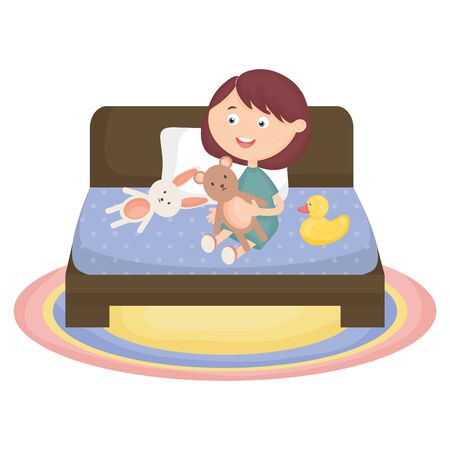cute little girl with bear teddy and duck in the bed
