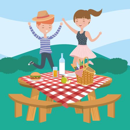 man and woman table food picnic nature landscape Ilustrace