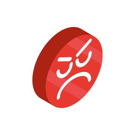 angry emoticon social media isometric icon