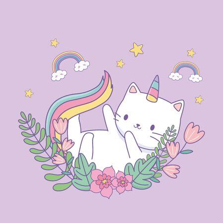 cute cat unicorn with floral decoration Ilustração