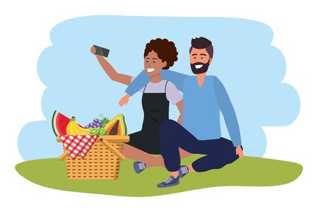 Millennial couple smartphone taking selfie picnic