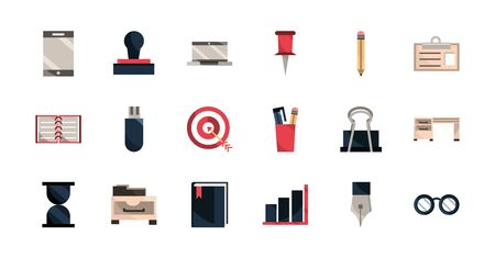 office work business equipment icons set Reklamní fotografie - 133906016