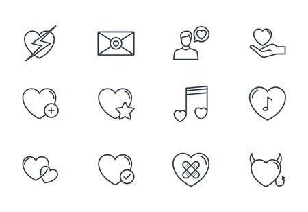 heart love romantic passion icons set