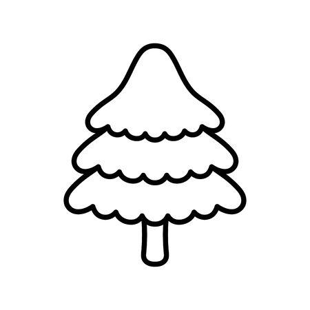 merry christmas celebration cute pine tree thick line