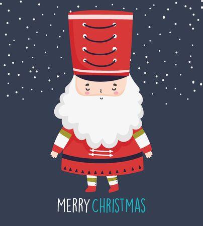 merry christmas celebration cute nutcracker soldier with hat Çizim
