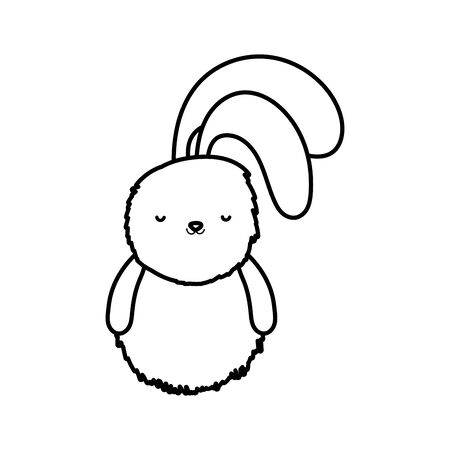 fluffy rabbit adorable toy icon thick line Ilustracja