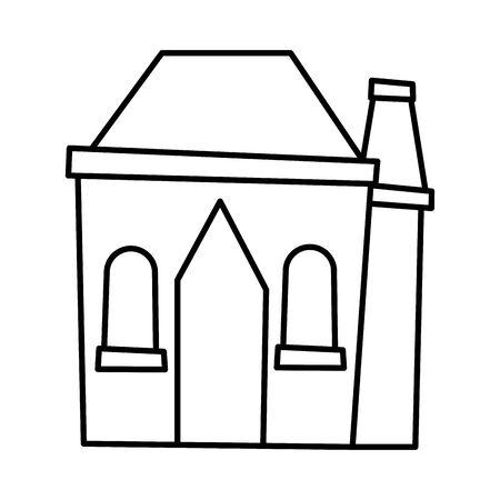 cottage home chimney village architecture cartoon icon thick line